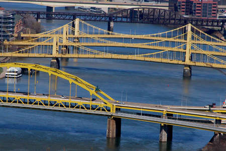 allegheny: Pittsburgh bridges across the Allegheny River . Connecting the North Shore with downtown Stock Photo