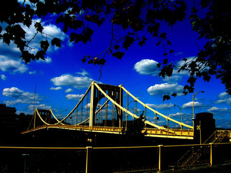 allegheny: The 9th St Bridge across the Allegheny River from downtown Pittsburgh to the North Shore Stock Photo