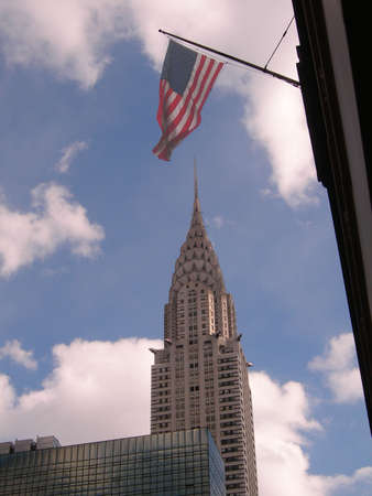 42nd: Chysler Building and US flag on 42nd St looking east, New York City