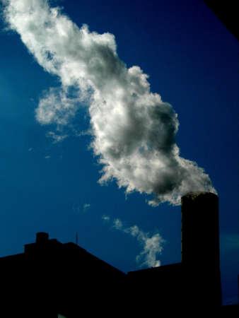 smoke stack: smoke stack city heating supply  Stock Photo