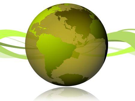 parte: Mundo 3D verde con ondas en la parte trasera