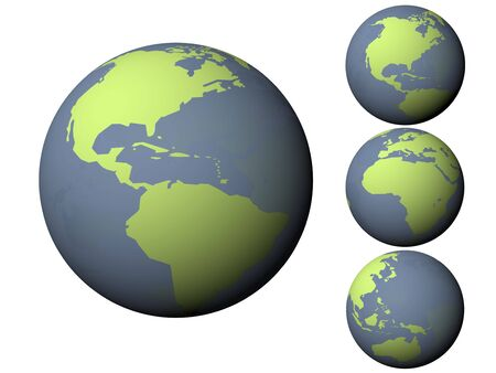 3D earth green and blue with diferents positions photo