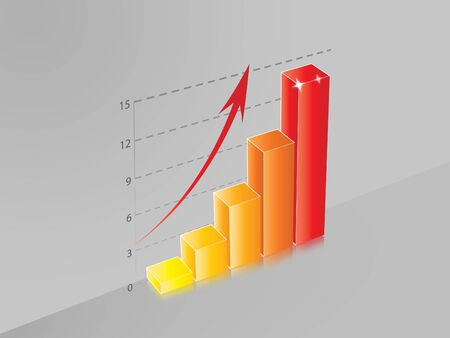 colo: 3D Ascendent bar chart with colo bar and gray background Stock Photo