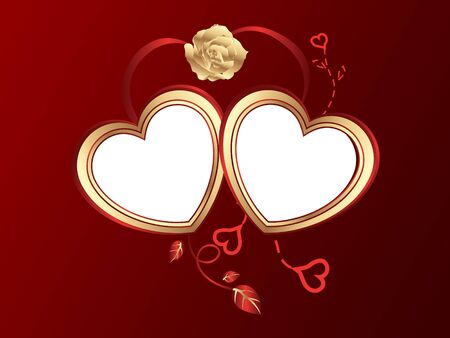 Background for valentine day with two hearts photo