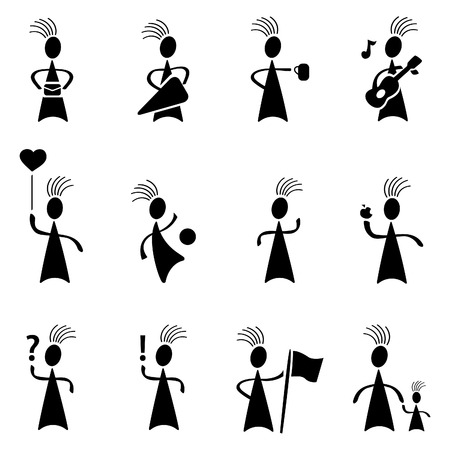 black people dancing: Cool Person in vector format Character Illustration