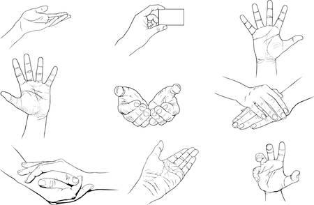 manos: Hand gestures Illustration