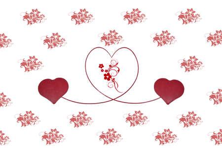 Twee rode harten bevestigd door een rode lijn die een hart in een muur met rode bloemen Stockfoto