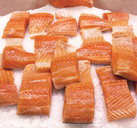 Salmon sliced