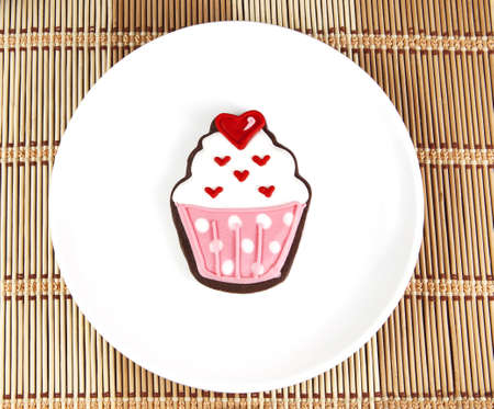 cooky: Sweet cup cake cooky on white dish Stock Photo