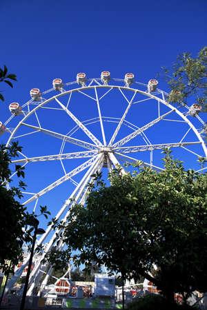 Summer day in circus, ferris wheel Editorial