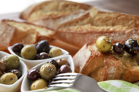 Close up of bread with olives