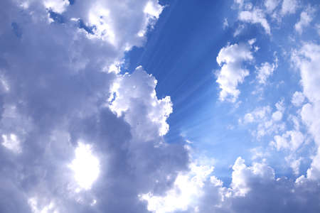 Blue Sky cloudy Background with sun flares