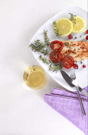 Grilled Salmon withe lemon and spices Stockfoto