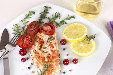 Salmone alla griglia withe limone e spezie
