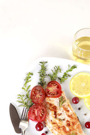 Grilled Salmon withe lemon and spices Stock Photo