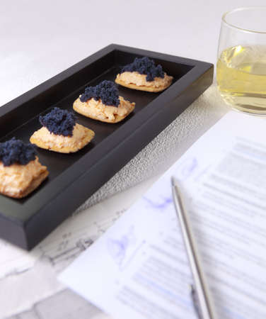 Caviar and salmon canape for closed buisness