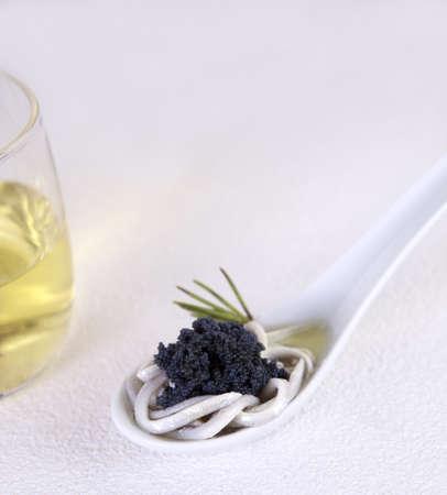 Eel and caviar with wine