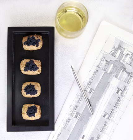 Caviar and salmon canape for closed business