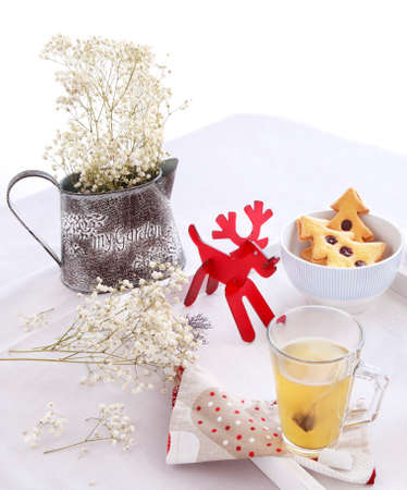 Christmas morning breakfast with tree cookies and flowers
