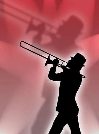 trombón: Trompetista silueta en las luces rojas