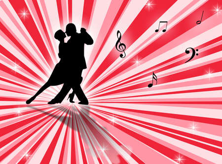 sexual couple: Couple dancing a tango on a star-burst background