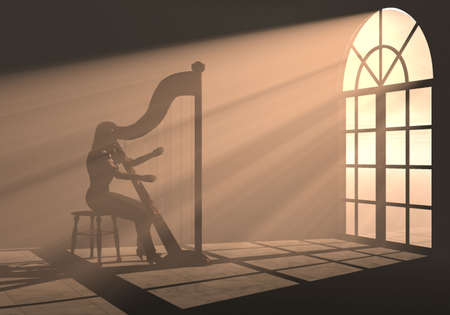 an illustration about a woman playing harp in the light Stock Photo