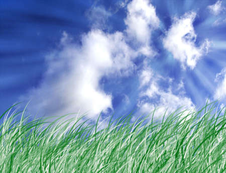 Illustration about green grass, sky with white clouds and some sun rays illustration