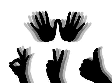affirmation: Illustration about human hands as symbols of human feelings Stock Photo