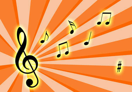 Music notes on the air with a colourful background Stock Photo - 810208
