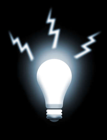 geniality: Illustration about white light from a light bulb as man genial idea