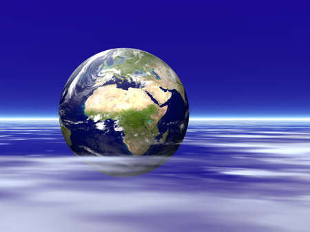 Illustration about the earth planet among white clouds Stock Photo