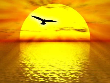Ilustraci�n sobre amarillo Domingo bajando el oc�ano para la puesta de sol  Foto de archivo - 845177