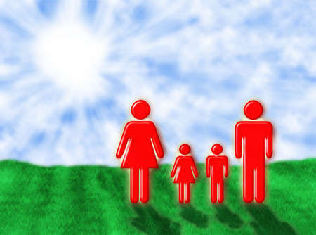 Illustration about a colourful family in the sunrays