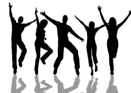A people group jumping for happiness Stock Photo