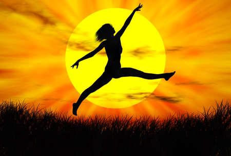夕日にジャンプの黒人女性の図