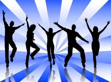 幸福と喜びのためにジャンプの人々 のグループ