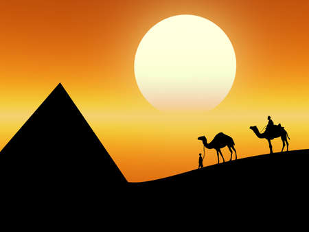 Hot landscape as this desert sunset with camels on the background