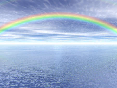 A sea landscape with a colourful rainbow in the sky
