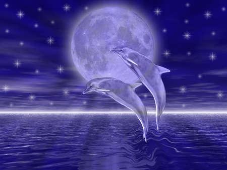 月のジャンプの夜のイルカ
