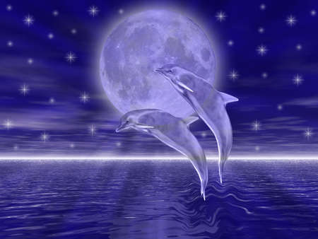 Dolphins in the night jumping on the moon Stock Photo