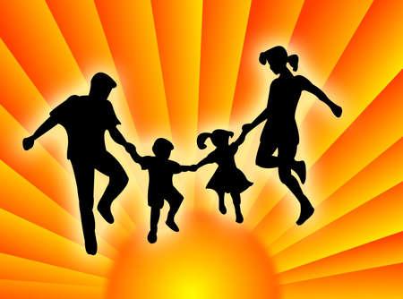 カラフルな日差しで非常に幸せな家族