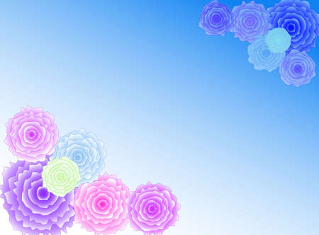 pastel tone: Colourful flowers in a blue background with a pastel tone