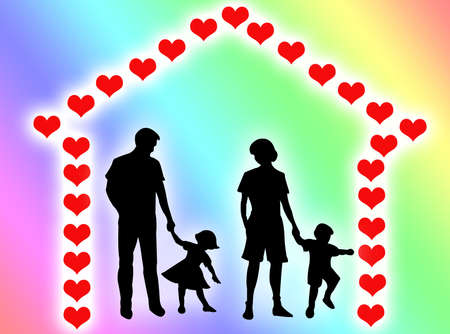 complicity: Happy family at home with a hearts frame Stock Photo