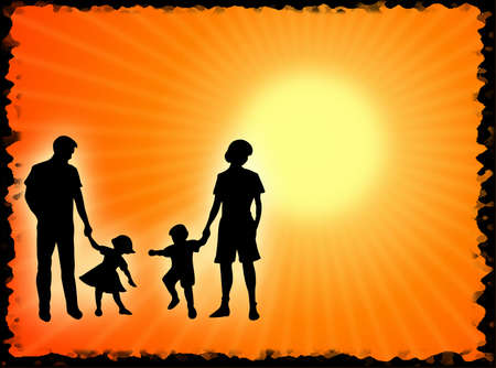 complicity: Mother, father and children in the sun