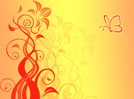 An abstract background with shapes and butterfly