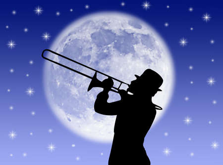 A trumpet player in the night against the moon