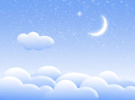 Illustration about sky with clouds and moon Stock Photo