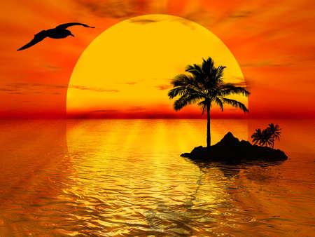 イラストの夕焼け、海とヤシの木について