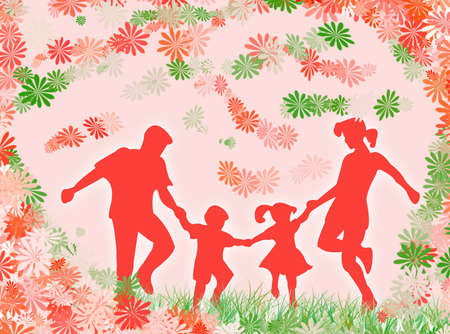 complicity: A very happy family among flowers and colors