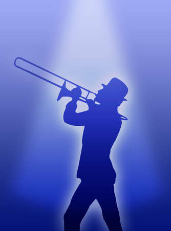 A trumpet player silhouette in the light